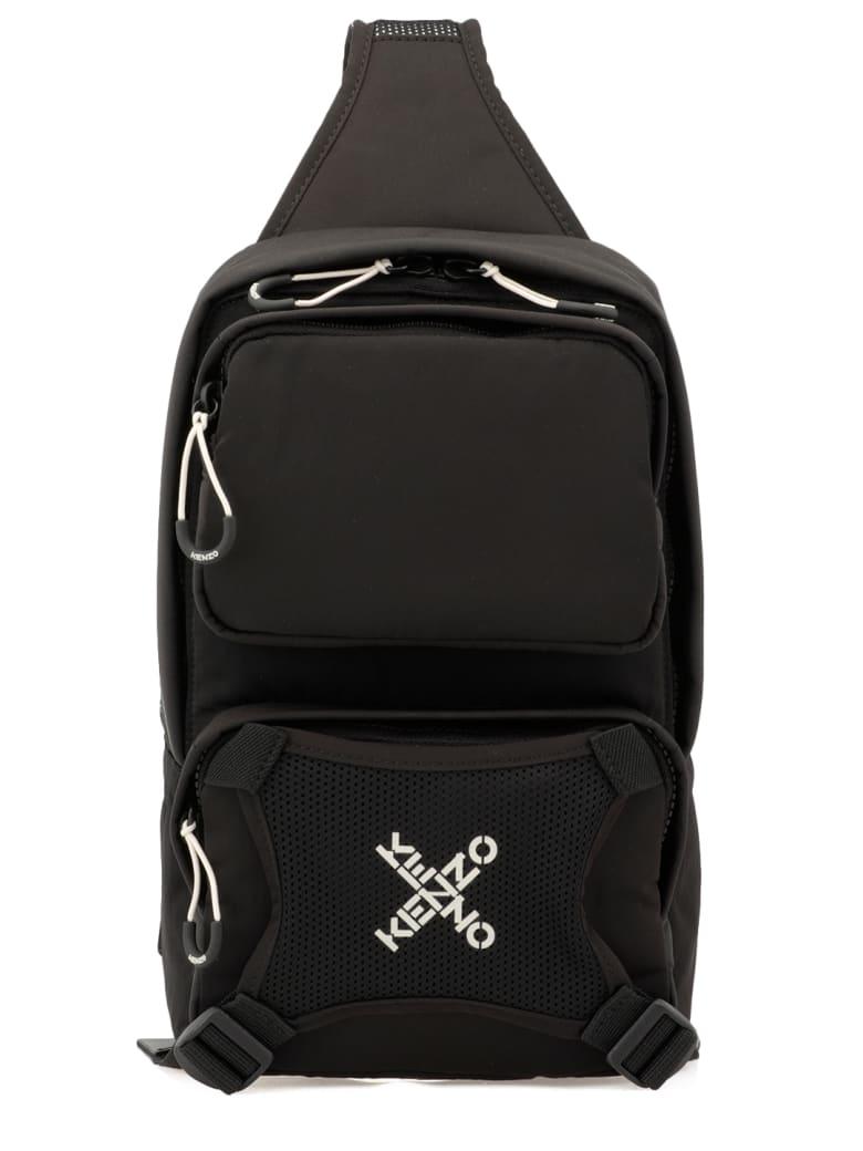 Kenzo One Shoulder Loged Backpack - BLACK