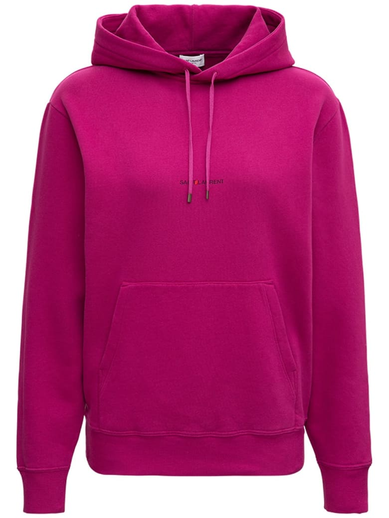 Saint Laurent Pink Jersey Hoodie With Logo - Fuxia