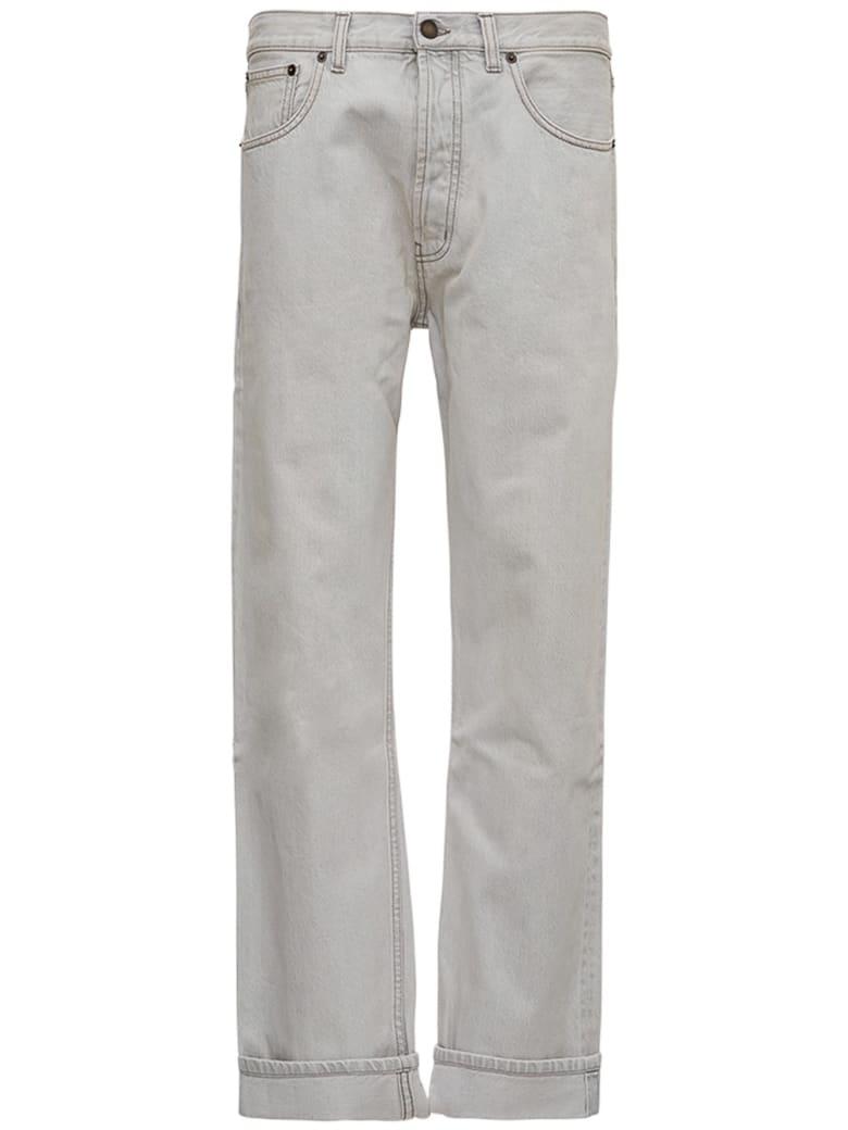 Saint Laurent Straight Cut Jeans In Gray Denim - Grey
