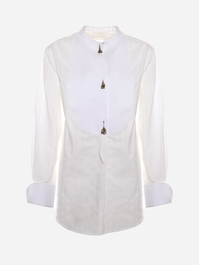Chloé Cotton Shirt With Decorative Buttons - White