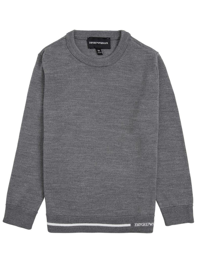 Emporio Armani Grey Sweater In Wool Blend - Grey