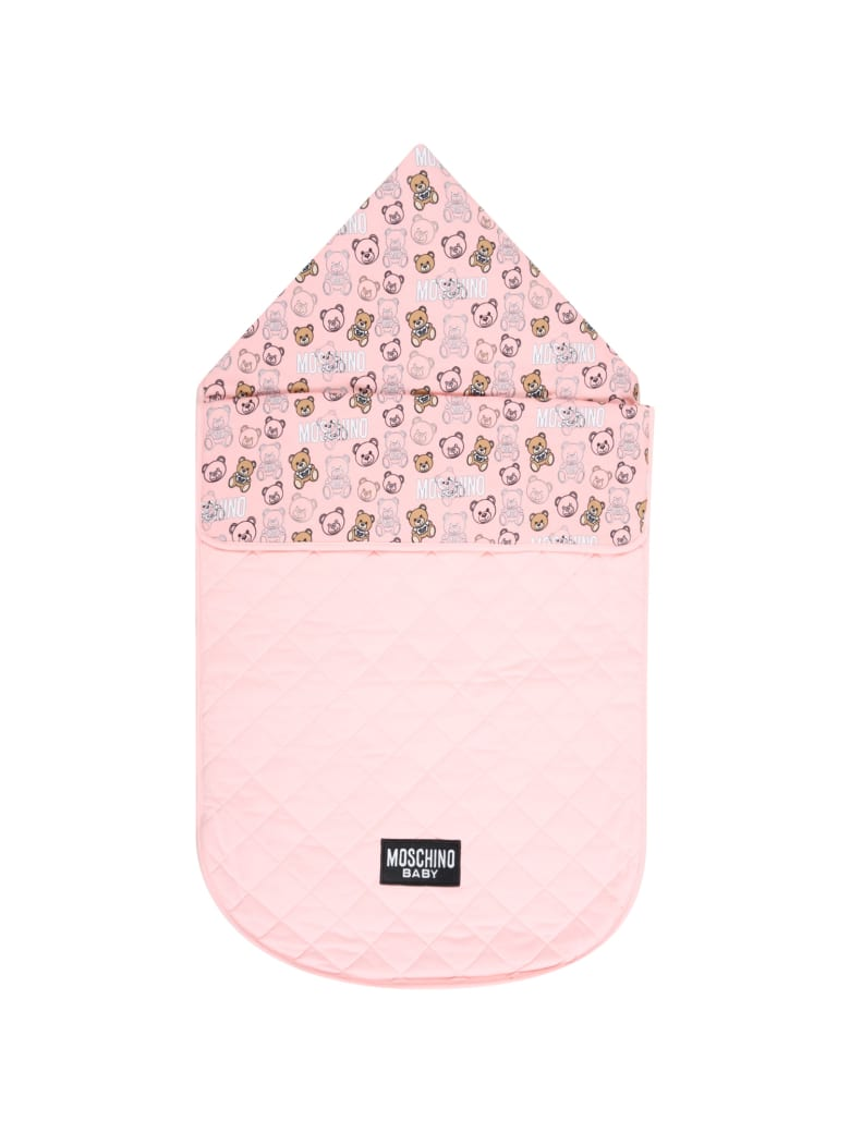 Moschino Pink Sleeping Bag For Baby Girl With Logo - Pink