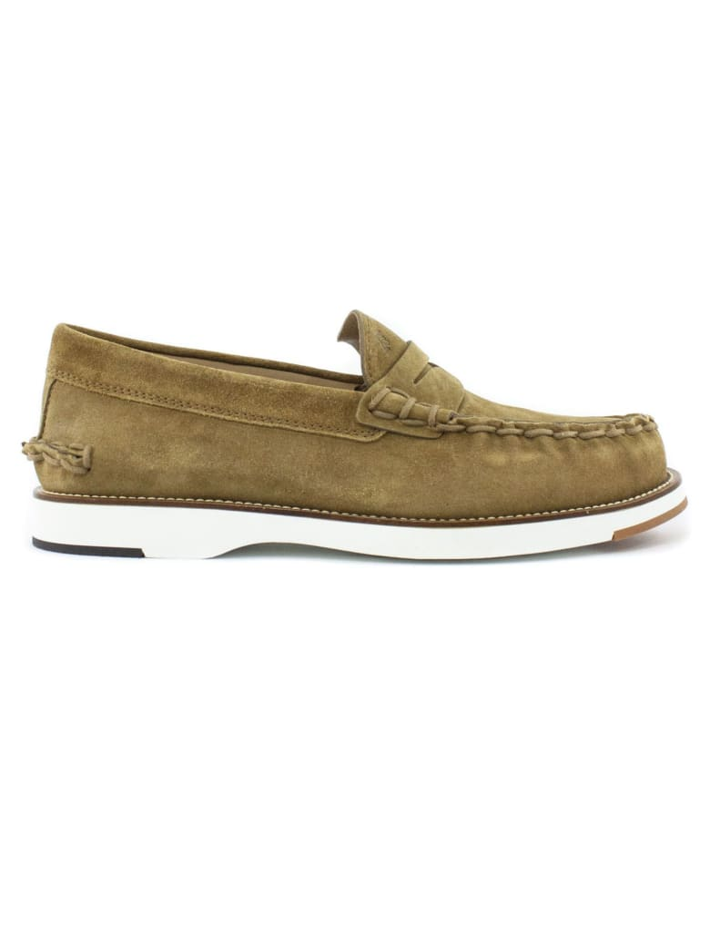 Tod's Loafers In Suede - Cuoio