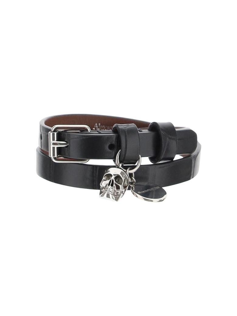 Alexander McQueen Pionier Double Wrap Leather Bracelet - Nero