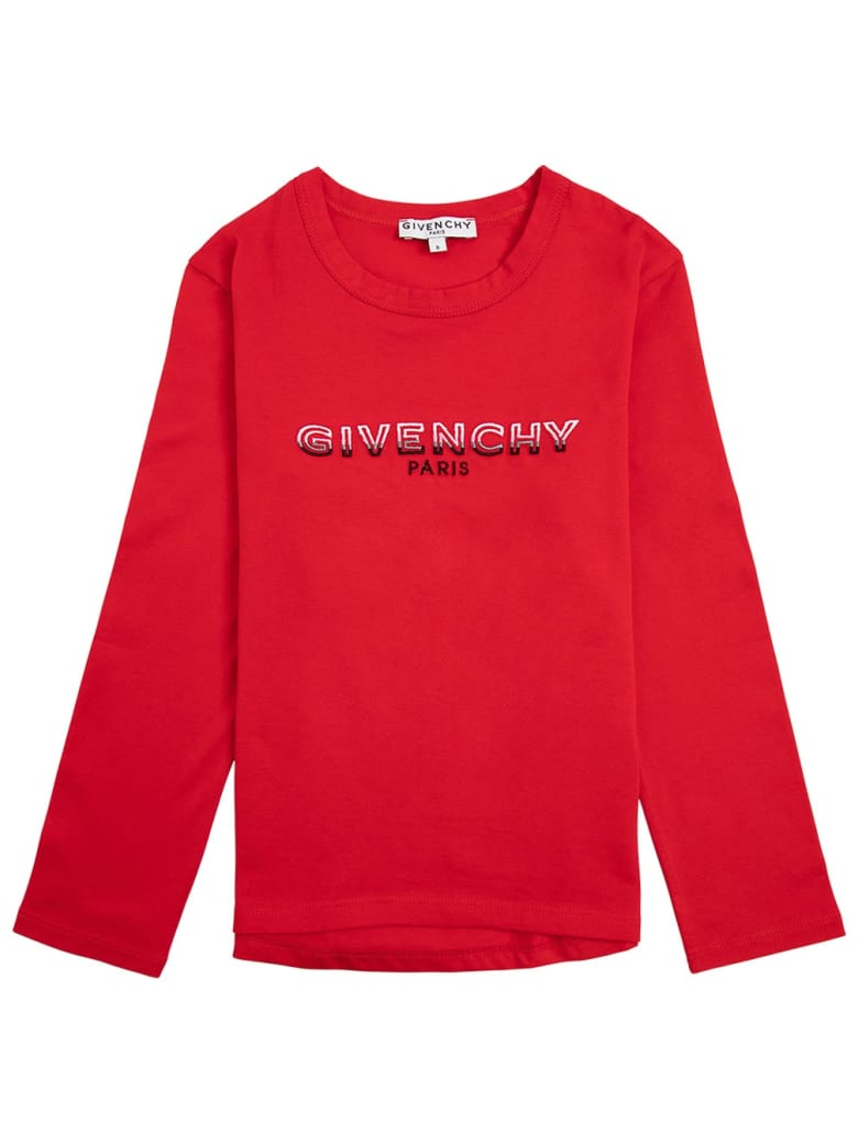 Givenchy Long-sleeved T-shirt In Red Cotton With Logo Print - Red