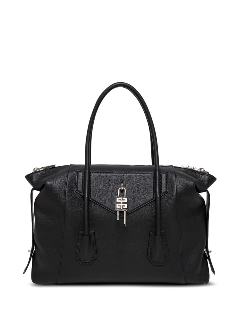Givenchy Antigona Lock Handbag In Black Leather - Black