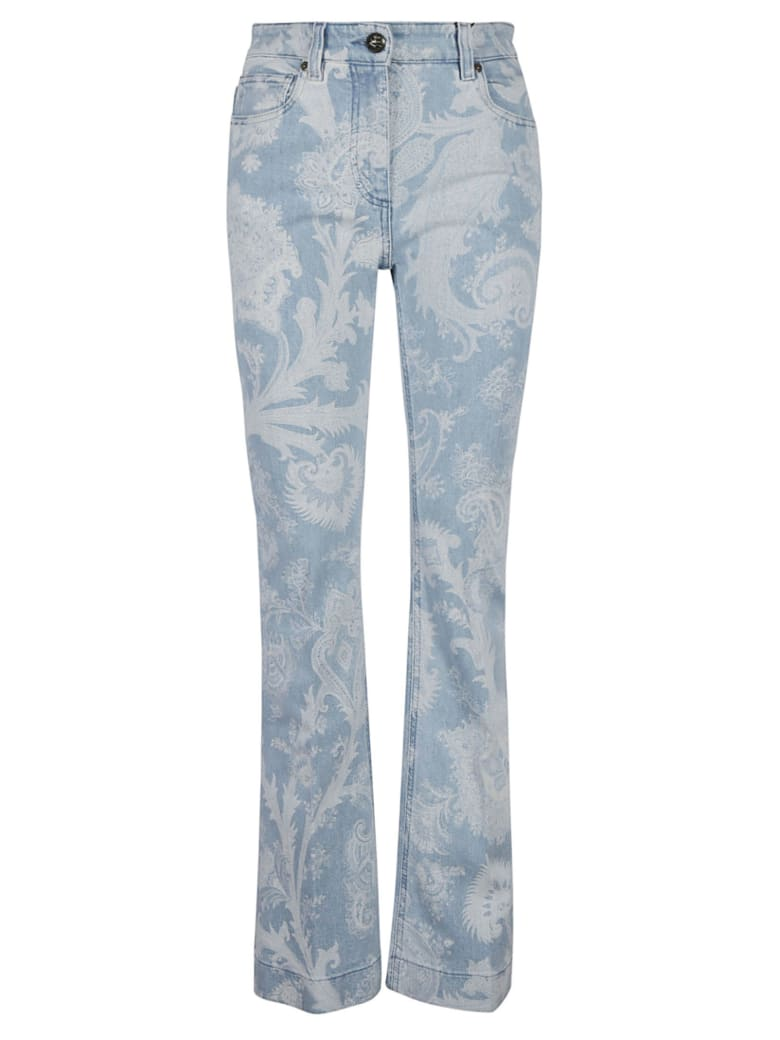 Etro Regular Fit Floral Printed Jeans - Azzurro