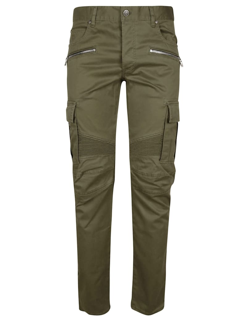 Balmain Slim Fit Logo Patch Cargo Pants - Kaki