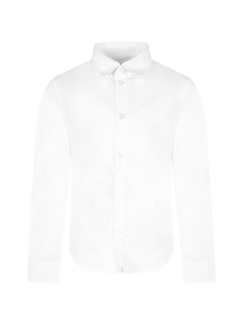 Armani Collezioni White Shirt For Boy With Iconic Eagle - White
