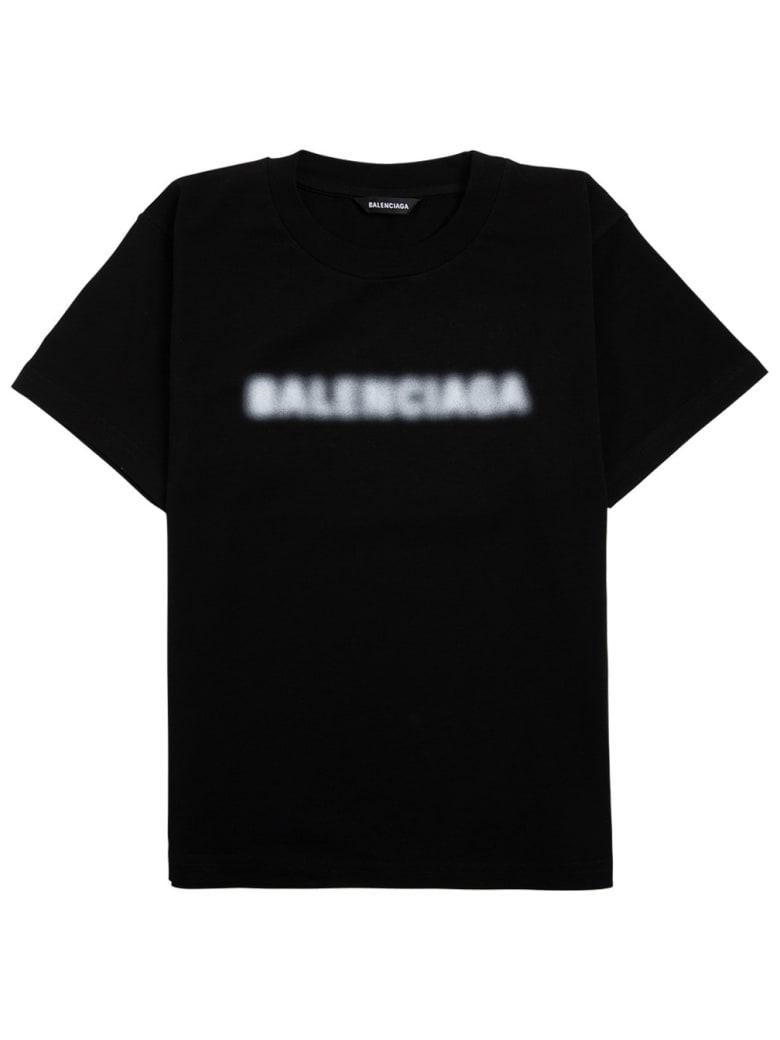 Balenciaga Black Jersey T-shirt With Logo Print - Black