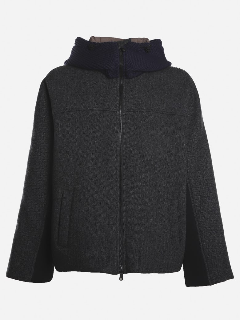 Valentino Oversized Caban With Contrasting Inserts And Logo Print - Grey