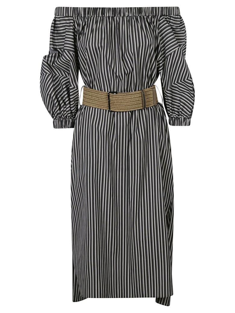Brunello Cucinelli Stripe Print Off-shoulder Dress - BLACK/WHITE