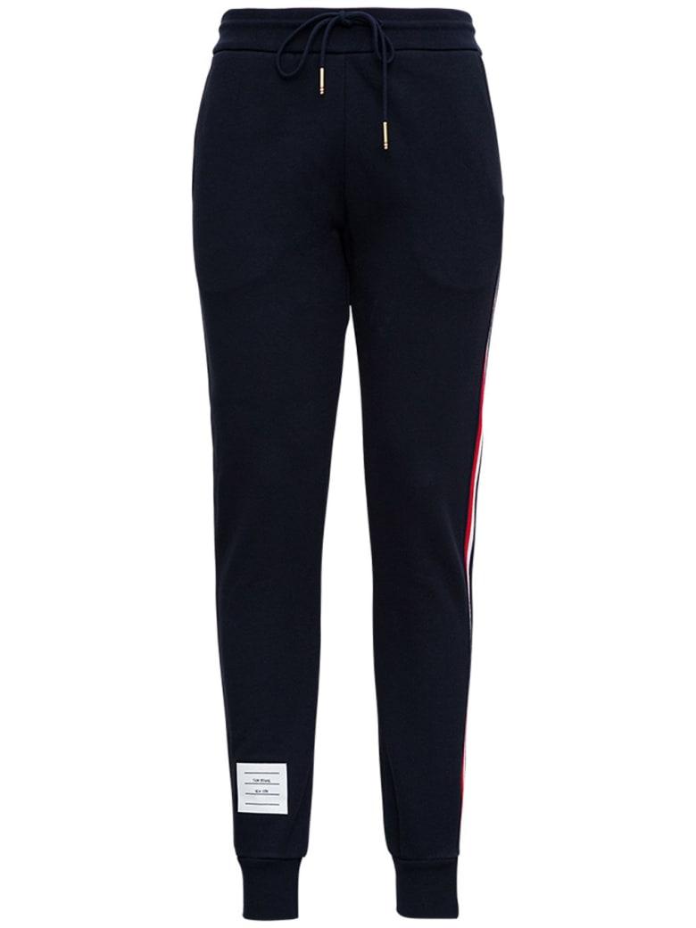 Thom Browne Blue Cotton Jogger With Rwb Stripe Inserts - Blu