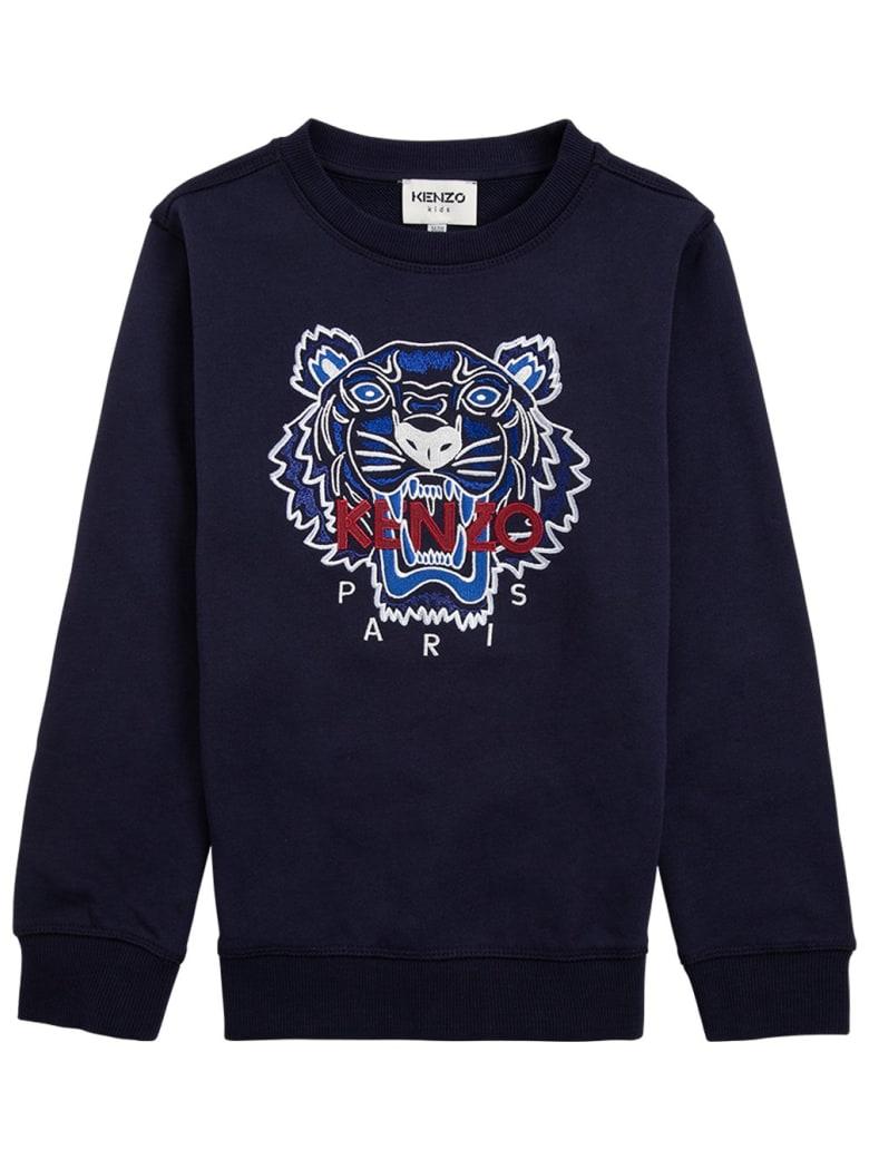 Kenzo Kids Blue Cotton Sweatshirt With Logo - Blu