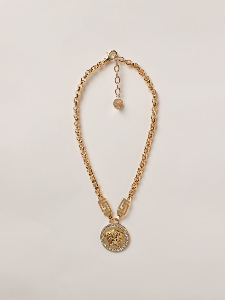Versace Jewel Icon Medusa Versace Necklace With Crystals - Gold