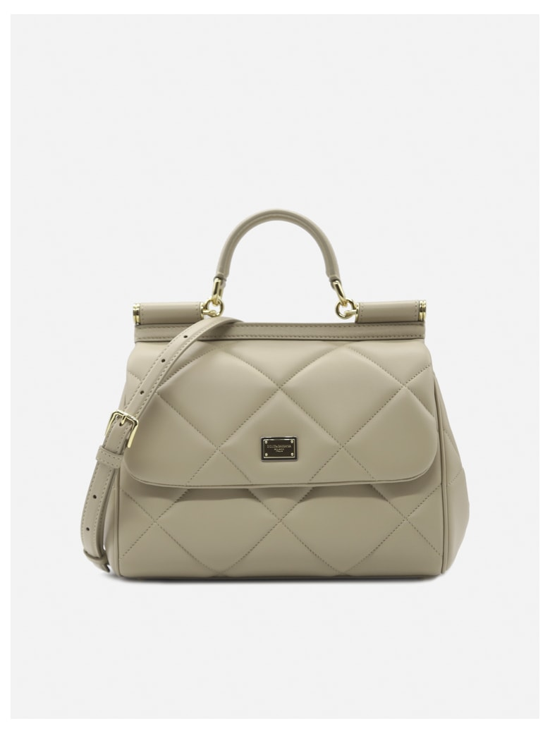 Dolce & Gabbana Medium Sicily Bag In Quilted Leather - Beige