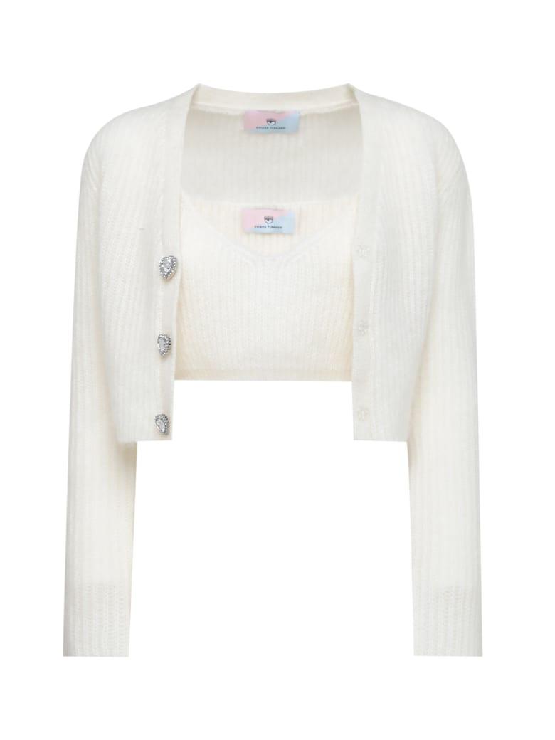 Chiara Ferragni Mohair Cardigan Knitwear - WINTER WHITE
