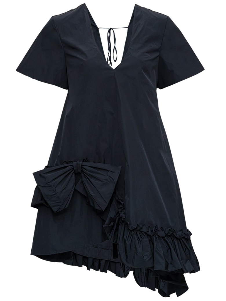 RED Valentino Asymmetrical Taffeta Dress With Bow - Black
