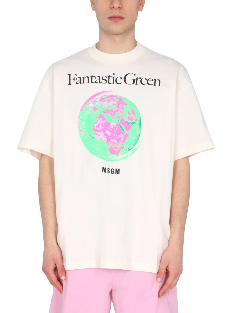 MSGM T-shirt With Fantastic Green Print - BIANCO