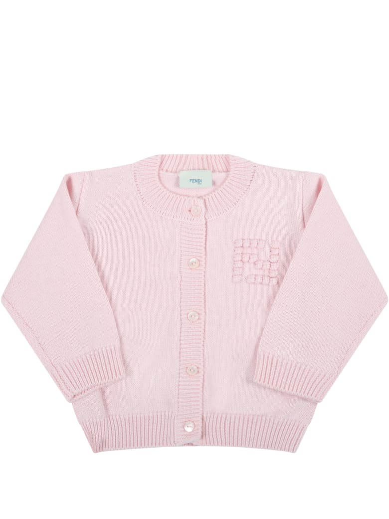 Fendi Pink Cardigan For Baby Girl With Embroidered Logo - Pink