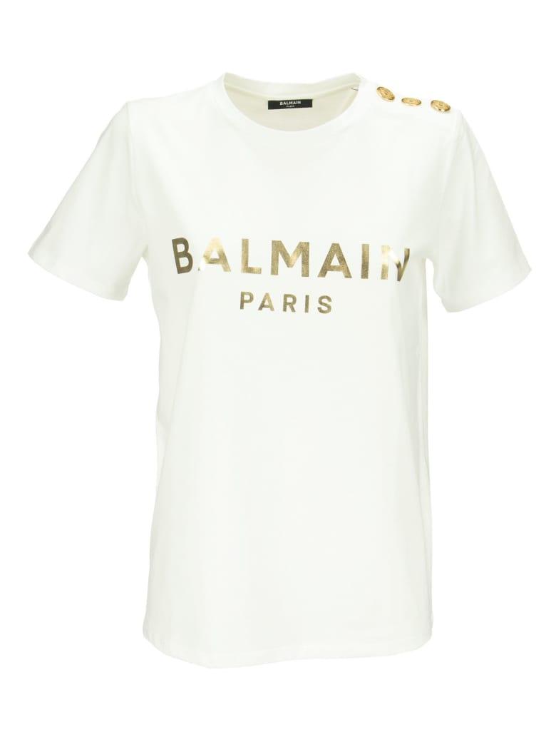 Balmain Logo-print Cotton T-shirt - Bianco