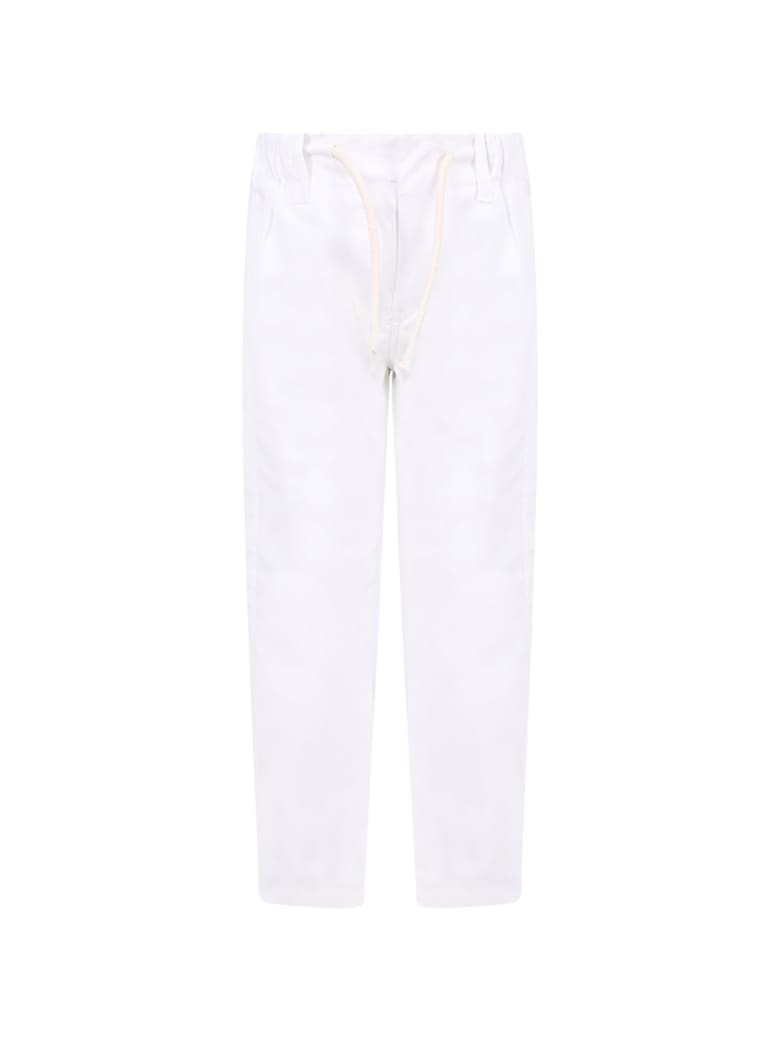 Dondup White Boy Pants With Iconic D - White