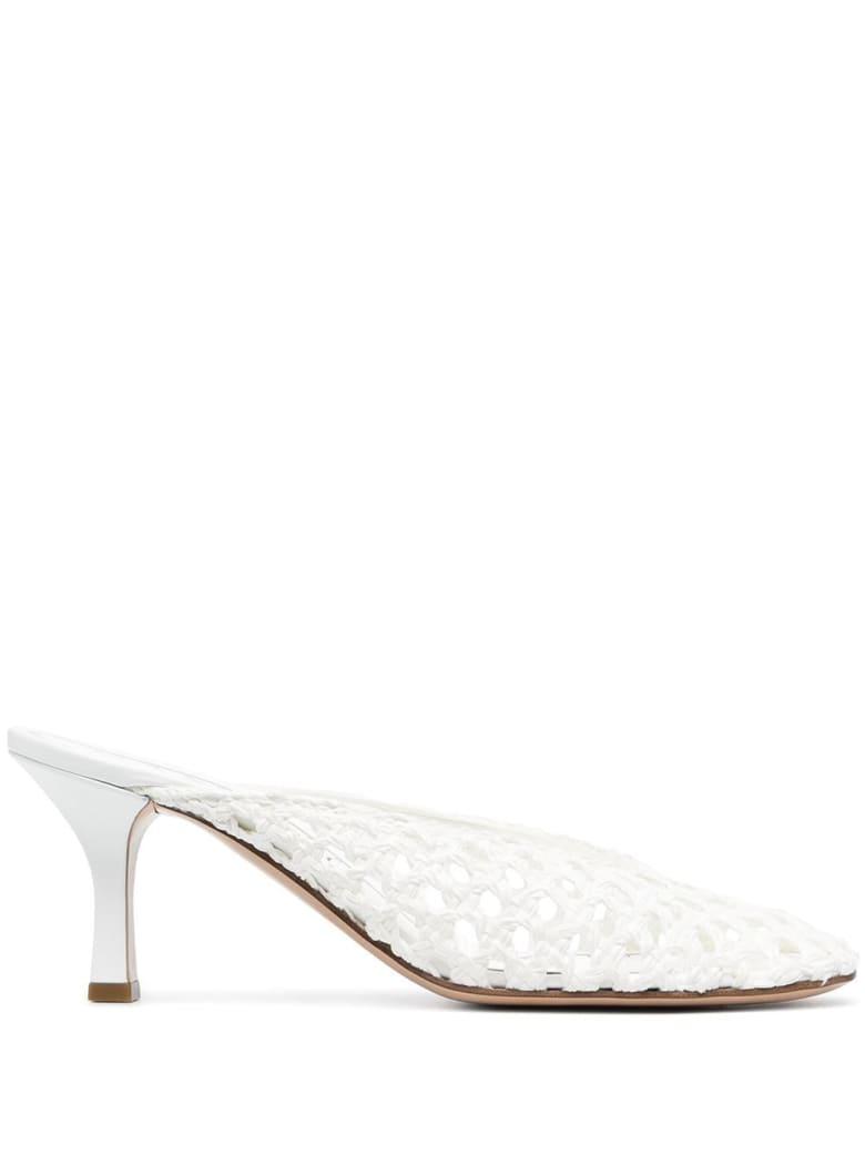 Casadei White Net Mules - White