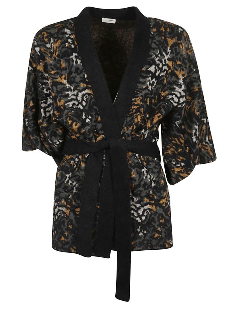 Saint Laurent Tie-waist Fur Applique Cardi-coat - Black/Grey/Natural