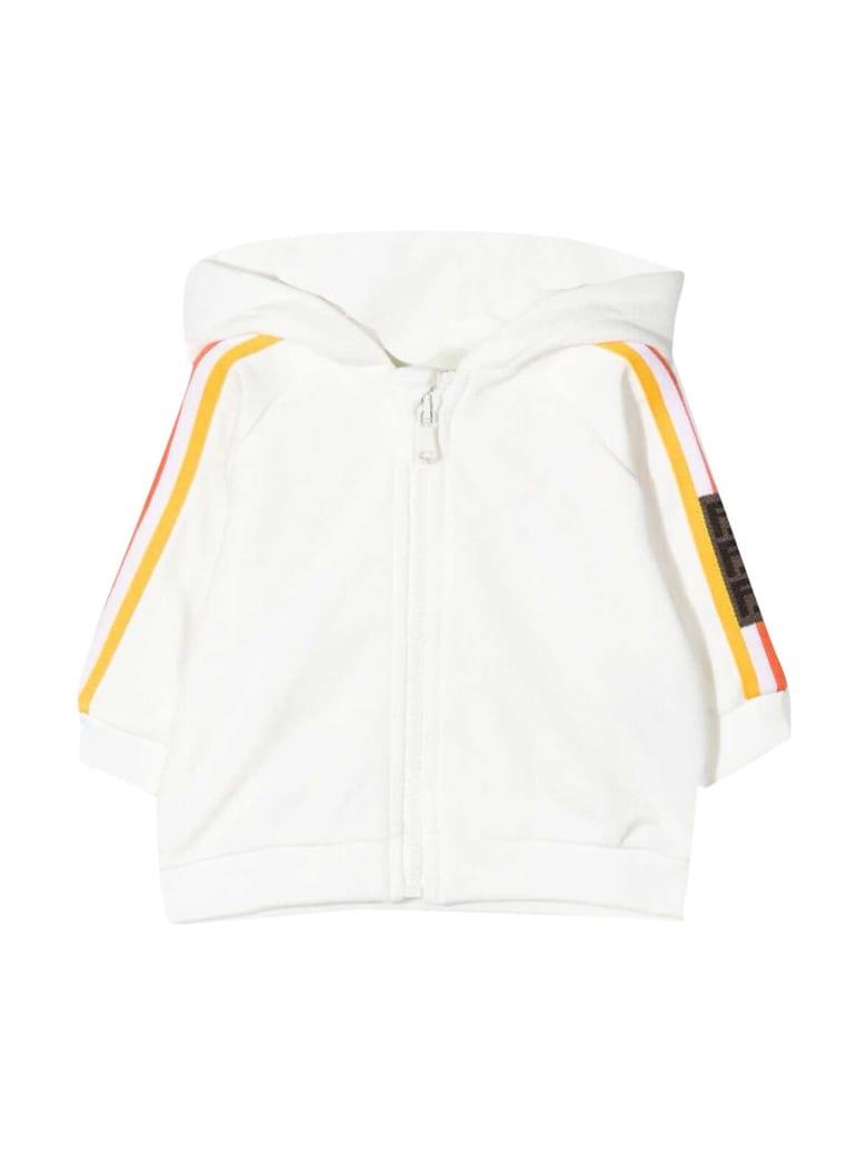 Fendi White Sweatshirt With Hood And Multicolor Bands - Bianco/rosa