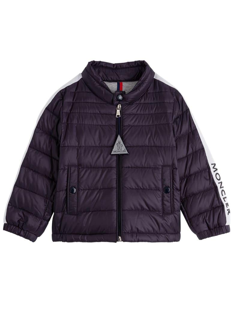 Moncler Alber Down Jacket In Blue Nylon - Blu
