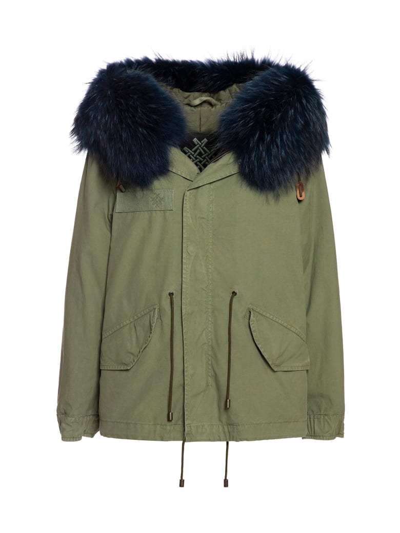 Mr & Mrs Italy Exclusive Fw20 Icon Parka: Army Jazzy Mini Parka Raccoon Fur - ARMY / ARMY / BLUE