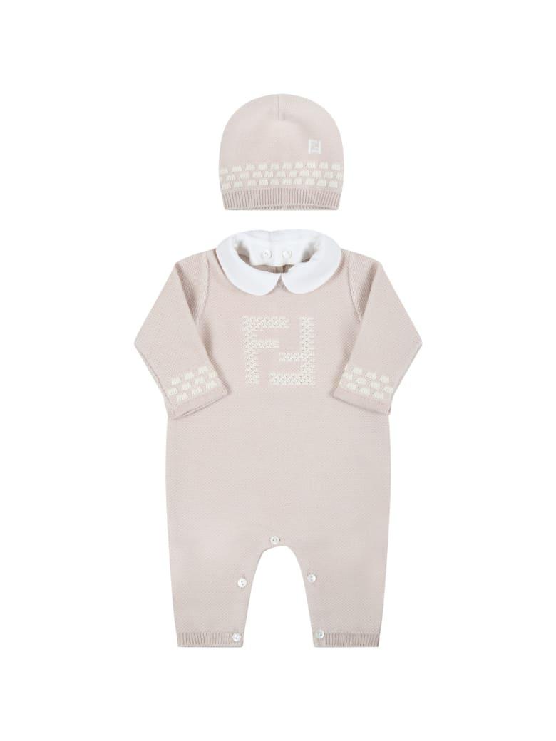 Fendi Beige Set For Babykids With Douple Ff - Beige