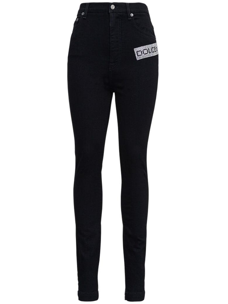 Dolce & Gabbana Stretch Denim Jeans With Jewel Logo - Black