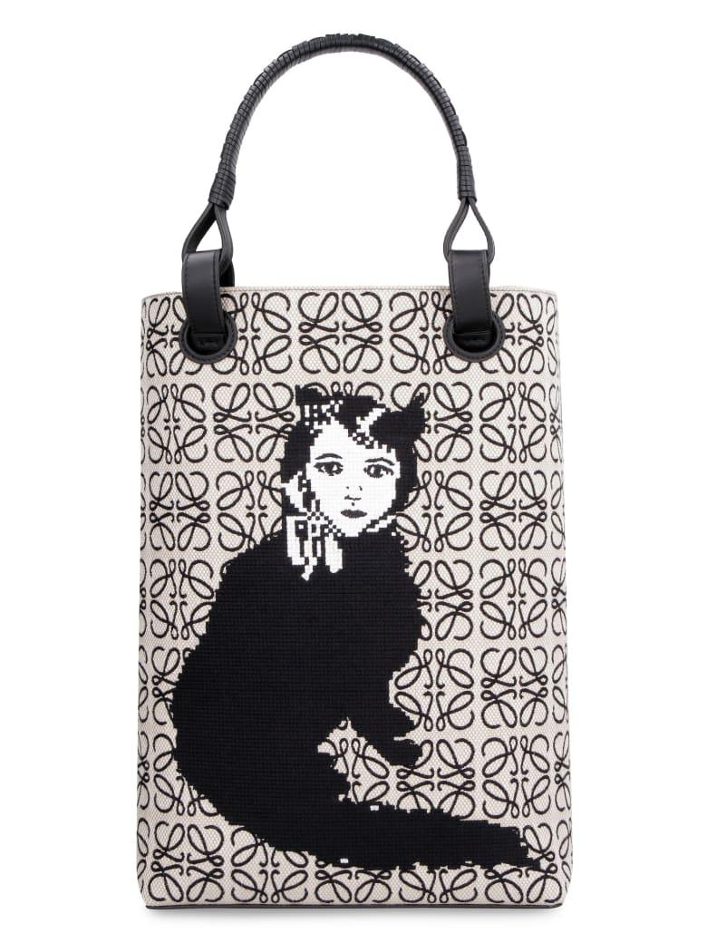 Loewe Canvas And Leather Tote Bag - Loewe X Joe Brainard - Beige