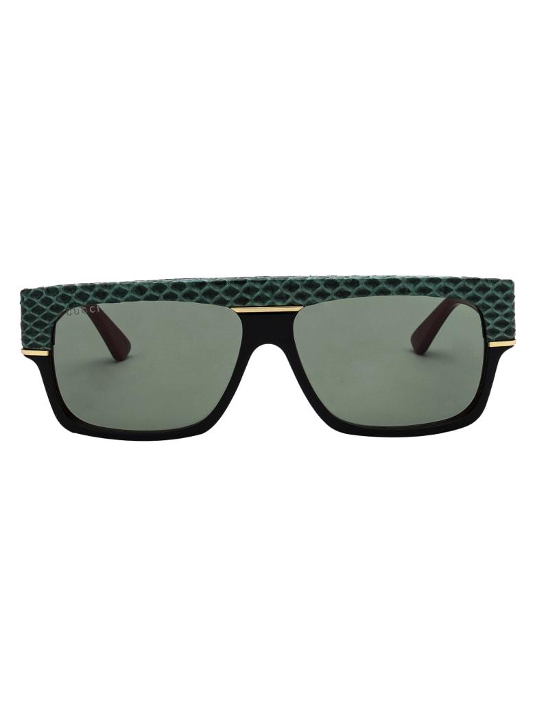 Gucci Gg0483s Sunglasses - 003 BLACK BLACK GREEN