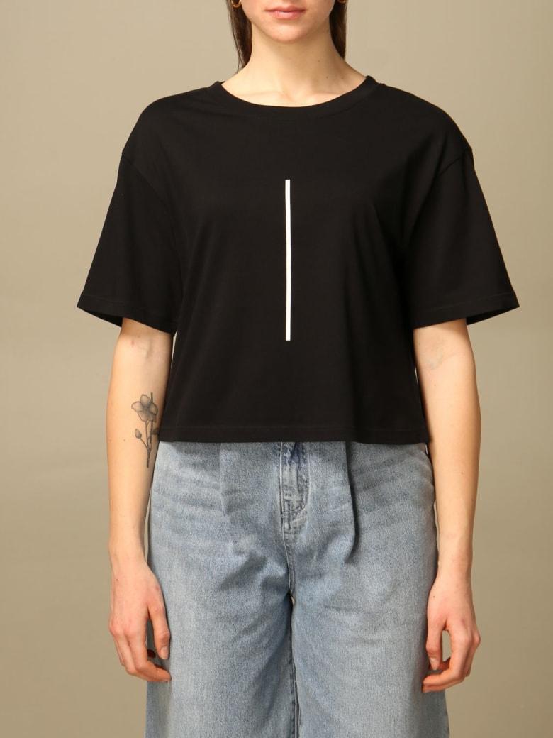 Armani Collezioni Armani Exchange T-shirt Armani Exchange Cropped Cotton T-shirt With Logo - Black