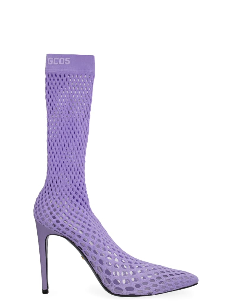 GCDS Pointed Mesh Ankle Boots - Lilac