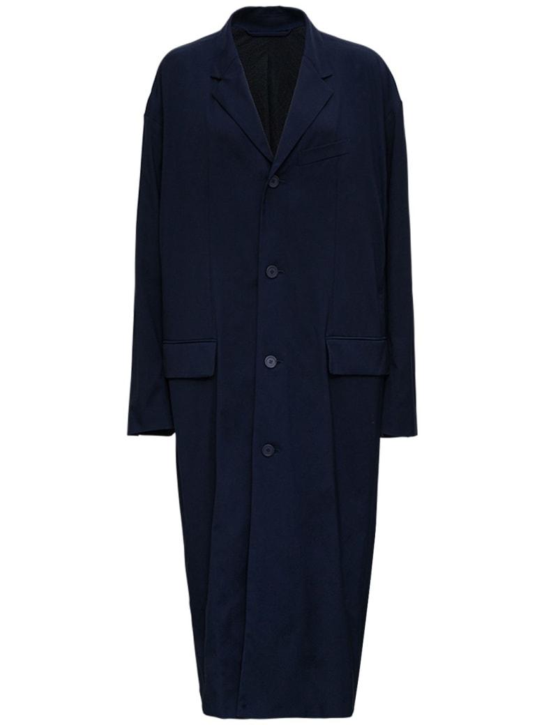 Balenciaga Oversize Long Coat In Blue Nylon - Blu
