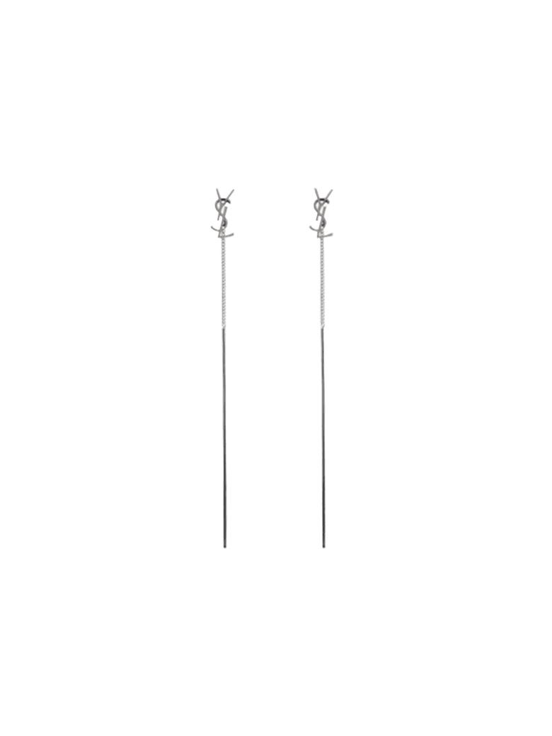 Saint Laurent Silver Brass Earrings With Logo - SILVER
