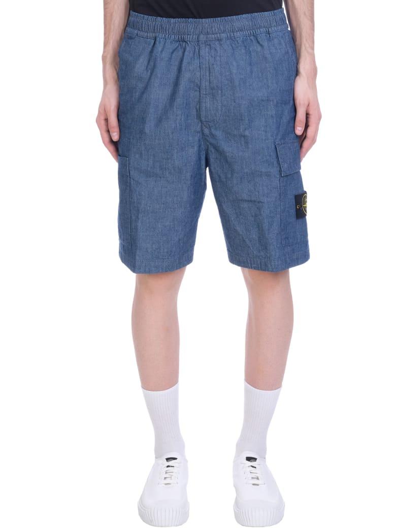 Stone Island Shorts In Blue Denim - blue