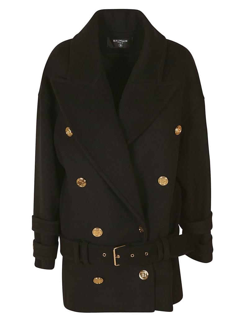 Balmain Oversized Double-breasted Coat - Black