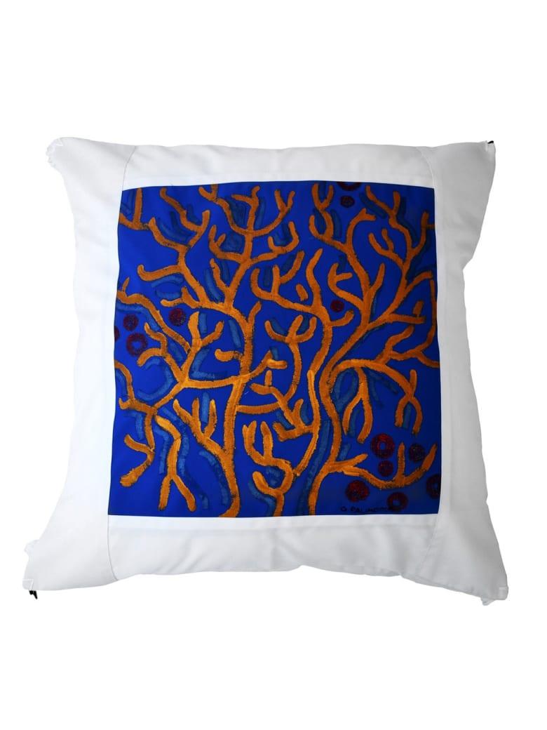 Le Botteghe su Gologone Cotton Hand Painted Indoor Cushion 80x80 cm - Blue Fantasy