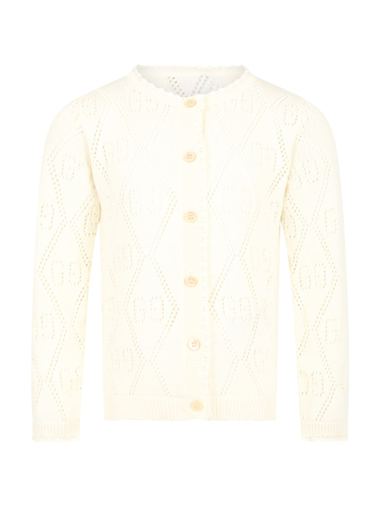 Gucci Ivory Cardigan For Girl With Double Gg - Natural White