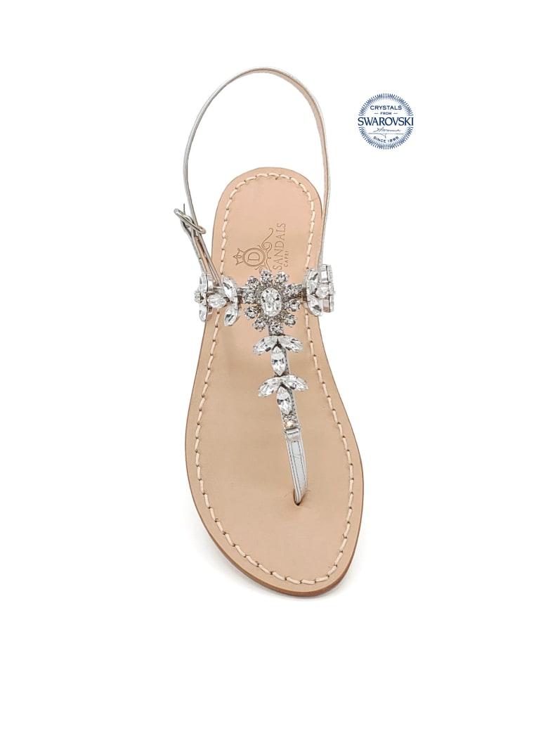 Dea Sandals Marina Grande Flip Flops Thong Sandals - silver, crystal