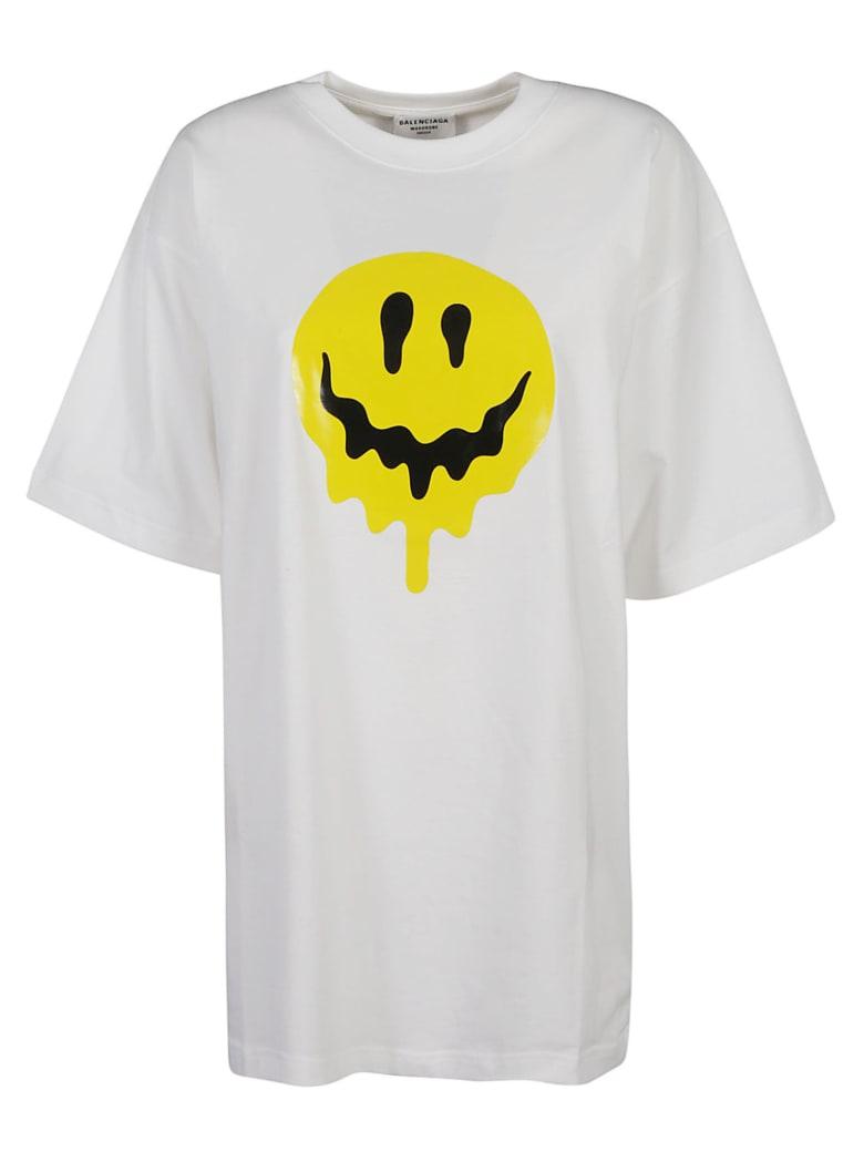 Balenciaga Melting Smiley Print T-shirt - Bianco