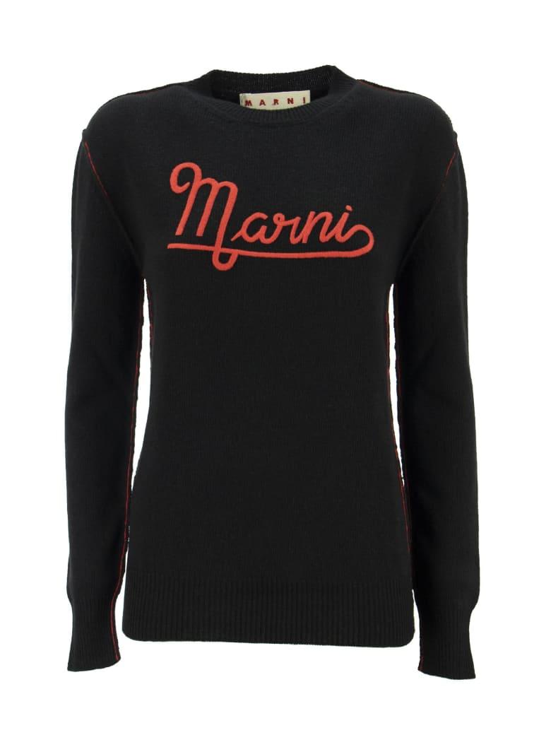 Marni Hazelnut Crewneck Sweater With Embroidered Logo - Blue