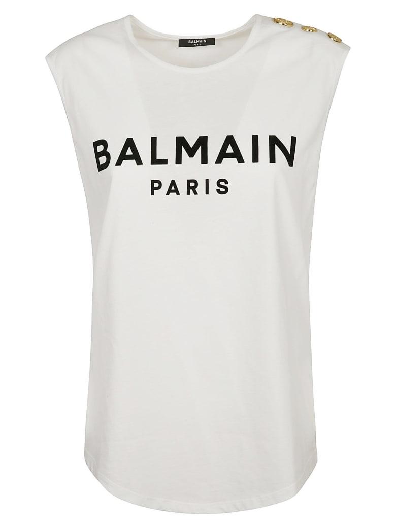Balmain Logo Print Tank Top - White/Black