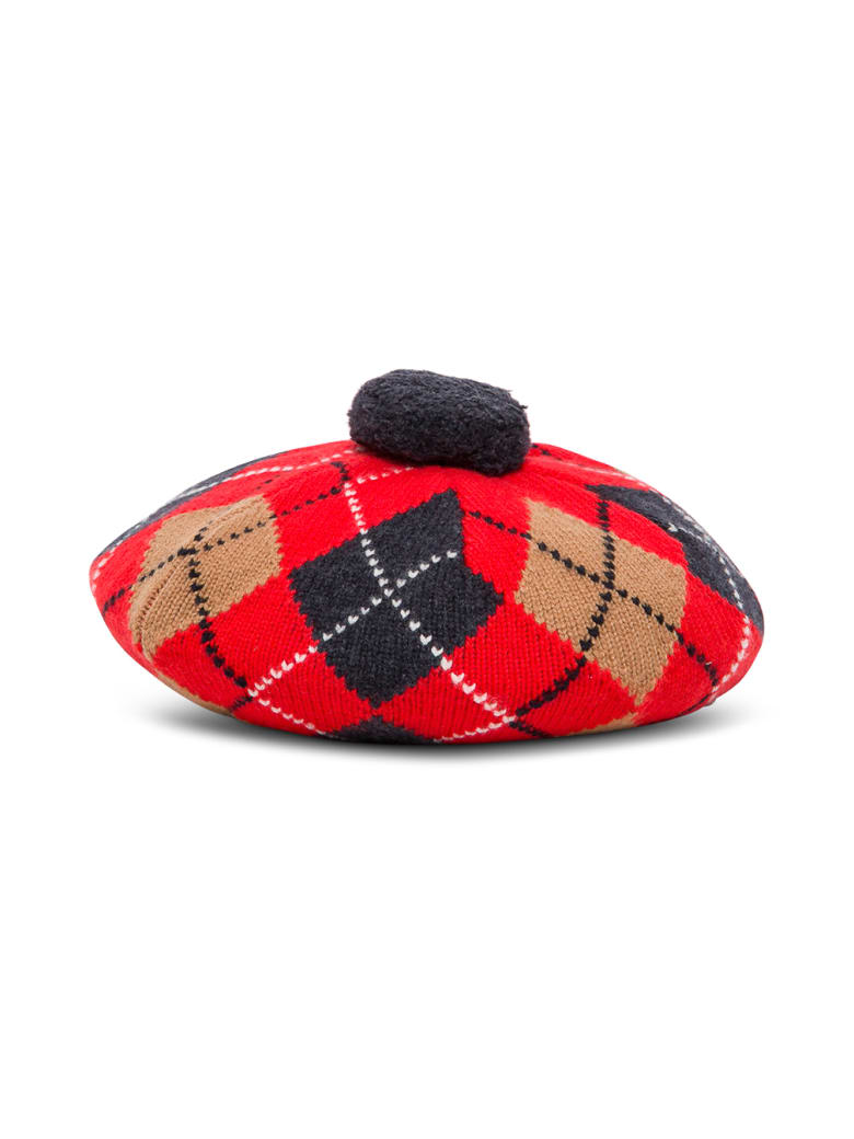 Burberry Argyle Wool And Cashmere Basque With Rhombus Motif - Red