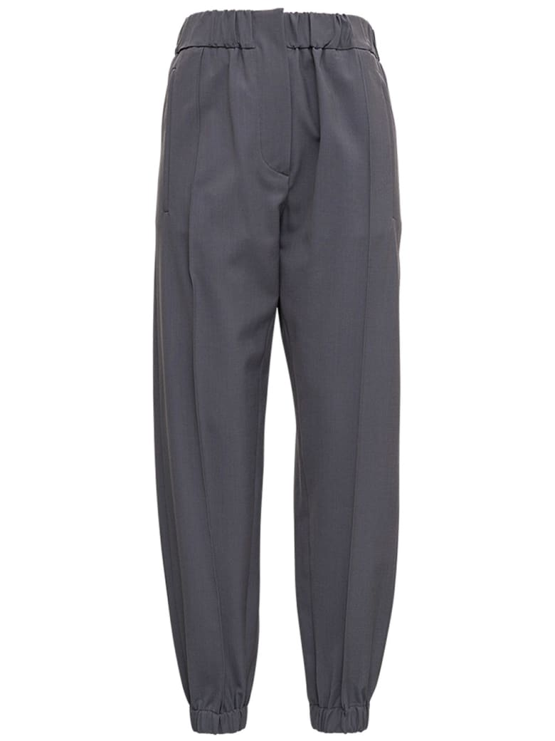 Tela Grey Wool Blend Pants - Grey