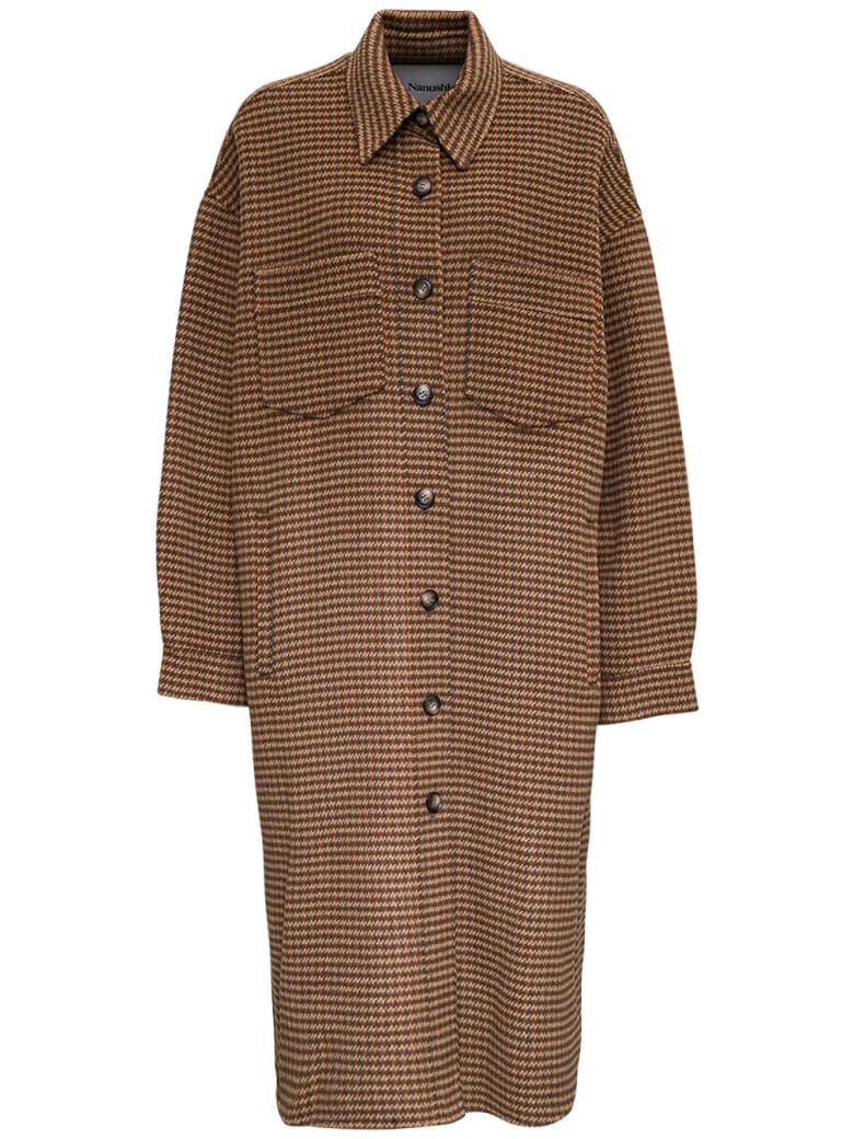 Nanushka Cruza Check Wool And Silk Long Coat - Brown
